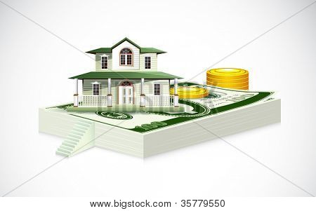 illustration of house on dollar note with gold coin