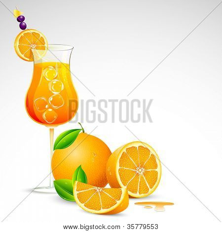 illustration of freshy orange juice in mocktail glass