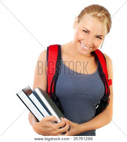 Happy student closeup face, cute girl holds books, portrait of a pretty casual teen with big cheerful smile, young female isolated on white background, education, back to school concept
