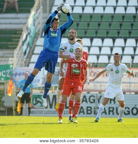 KAPOSVAR, HUNGARY - AUGUST 4: Vukasin Poleksic (goalkeeper) in action at a Hungarian National Championship soccer game Kaposvar (white) vs Debrecen (red) August 4, 2012 in Kaposvar, Hungary.