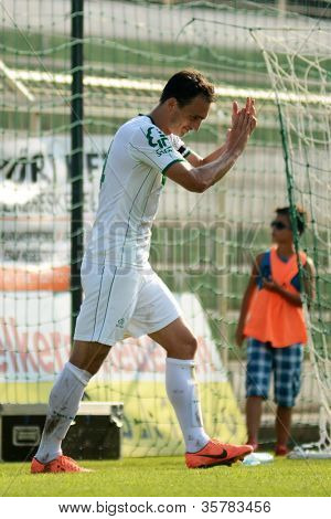 KAPOSVAR, HUNGARY - AUGUST 4: Lorant Olah celebrates at a Hungarian National Championship soccer game Kaposvar (white) vs Debrecen (red) August 4, 2012 in Kaposvar, Hungary.