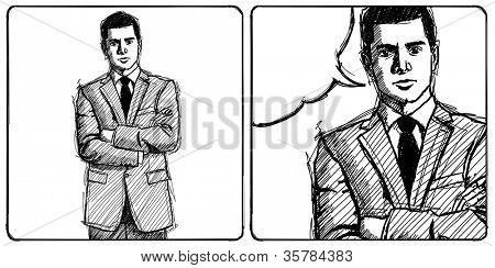 Sketch, comics style man businessman in suit, with folded hands, looking on camera