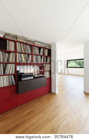 interior modern house, empty room with library records