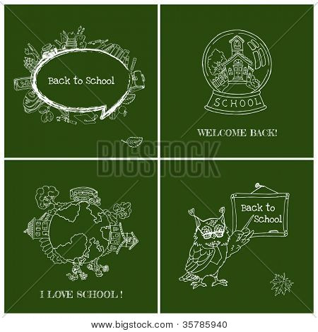 Set of Back to School Cards - Hand-Drawn Vector Illustration Design Elements