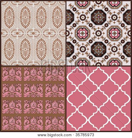 Set of Vintage Tiles Backgrounds - design elements for scrapbook - in vector