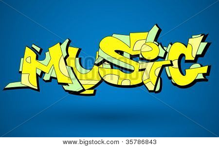 Graffiti Urban Art Vector Design of Music Word