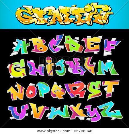 Graffiti Font Alphabet Vector Art