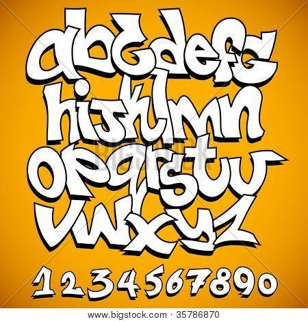Graffiti font alphabet