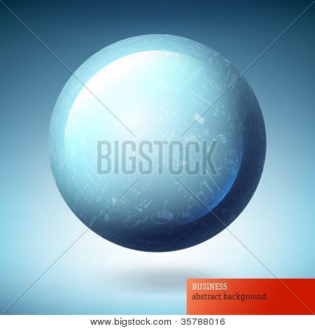 Globe icon with abstract successful graphs. Vector illustration, EPS10