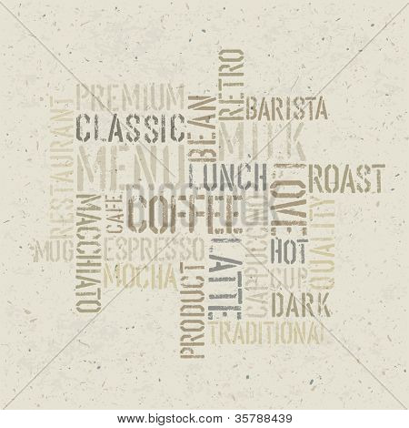 Coffee themed poster design template. Raster version, vector file available in portfolio.