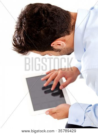 Business man using tablet computer - isolated over a white background