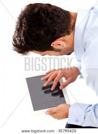 Hombre de negocios con tablet PC - aislado sobre un fondo blanco