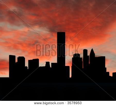 Horizonte de Houston al atardecer