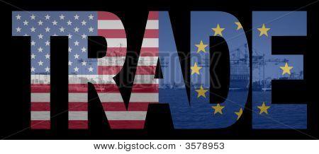 Comércio com os americanos e bandeiras da UE