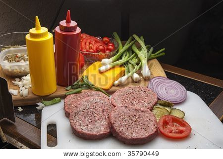 Hamburgers ready for Grilling