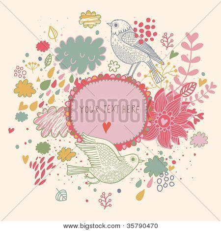 Decorative original frame. Original vintage frame template, background design. Hand drawn frame with colorful doodling elements
