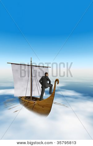 High resolution concept or conceptual businessman sailing on an old wood boat or vessel over the clouds with a blue sky background as a metaphor for risk,danger,business,safety,financial or disaster