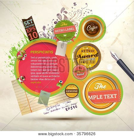 Vintage Web design template with labels, paper elements, stickers and paint drops. Eps 10 vector Illustration. Old paper texture, retro style.