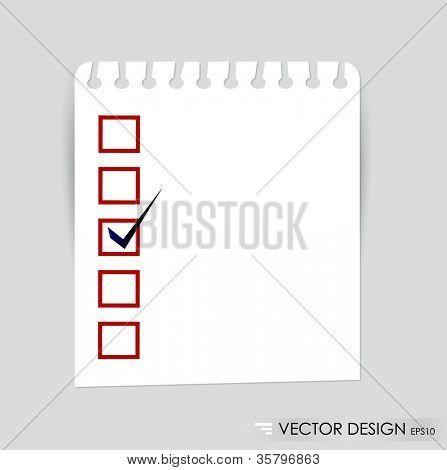 Eine Checkliste mit schwarzen Marker und rot markierten Kästchen. Konzept-Vektor-illustration