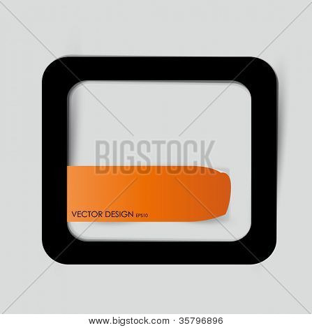 Orange note paper and frame on the gray wall. Vector illustration.