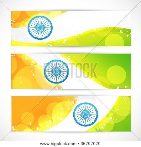 indian flag in headers design set