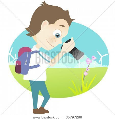 Cartoon Character Cute Teenager Isolated on White Background. Tourist Photographer. Vector EPS 10.