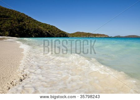 beach of trunk bay, st johns in the us virgin islands.