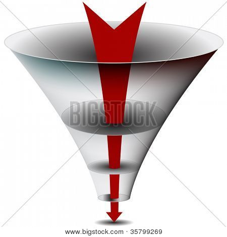 An image of am arrow passing through a funnel chart.