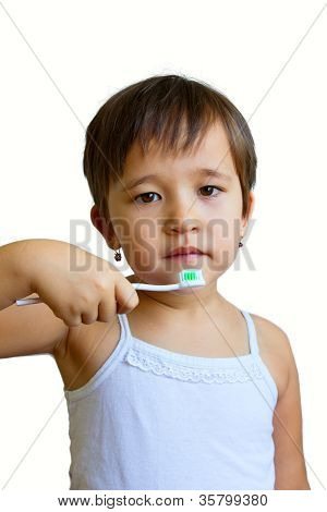 Little Girl Holding A Toothbrush