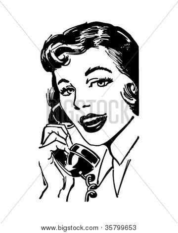 Telephone Gal - Retro Clipart Illustration