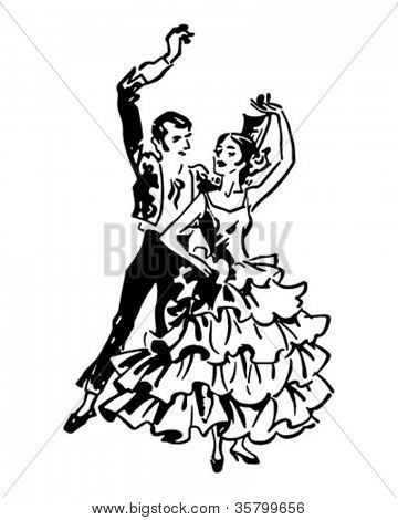 Flamenco Dancers 2 - Retro Clipart Illustration