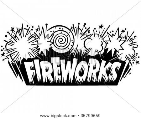 Fireworks Header - Retro Clipart Illustration
