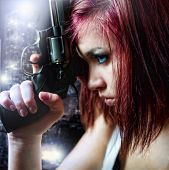 stock photo of girls guns  - Beautiful Sexy Girl Holding Gun in the city - JPG
