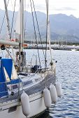 picture of safe haven  - close up detail of sailing yacht in port - JPG