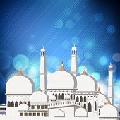 stock photo of kaba  - Mosque and Masjid on shiny blue background - JPG