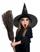 pic of warlock  - Portrait of little girl in black hat and black clothing with broom on white background - JPG