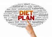 stock photo of carbohydrate  - Hand pointing at a Diet Plan Word illustration on white background - JPG