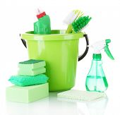 image of disinfection  - cleaning products isolated on white - JPG