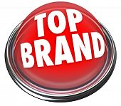 A red button or flashing light with the words Top Brand to indicate something is the best company or product to buyamong many choices poster