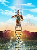 Origins of life: from simple molecules to dna. An human being materialize from dna and holds the Ear