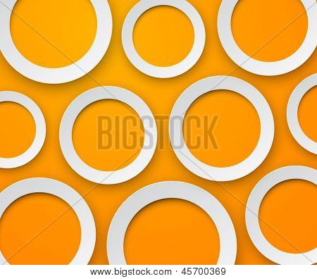 Vector background of white paper round speech bubble over orange. Eps10.