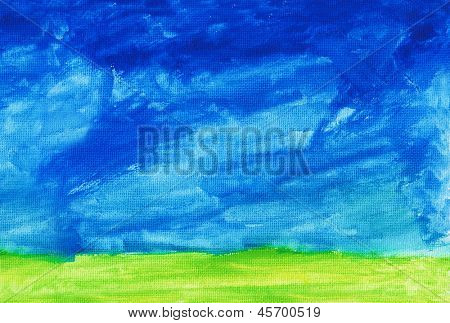 Abstract hand drawn watercolor background: summer landscape with blue sky, green grass.