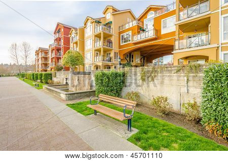 Apartment buildings in Vancouver, Canada. Residential architecture