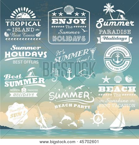 Vintage summer typography outline with names, symbols components gathering