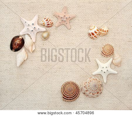 Background with starfishes and conches on canvas texture