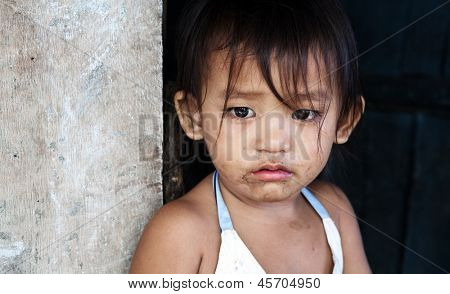 Asian child from impoverished area