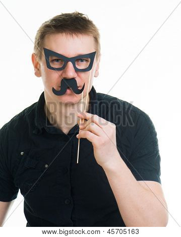 funny man with fake glasses and a mustache isolated on a white background
