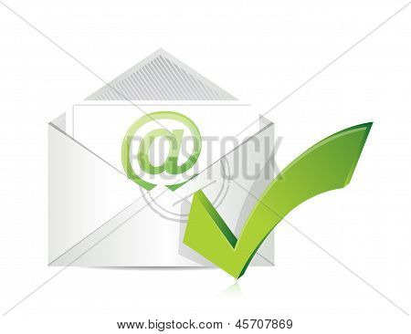 Open Envelope With A Check Mark Symbol