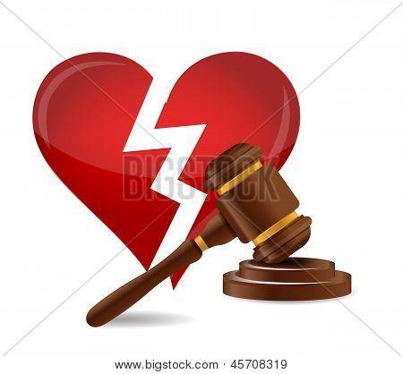 Gavel Divorce Concept Illustration Design