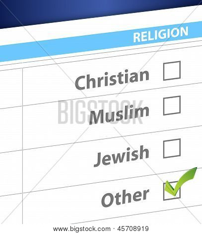 Pick Your Religion Blue Survey Illustration